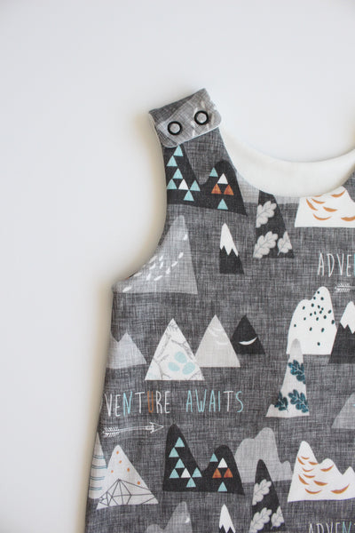 Little Adventurer (Charcoal) - Organic Harem Romper