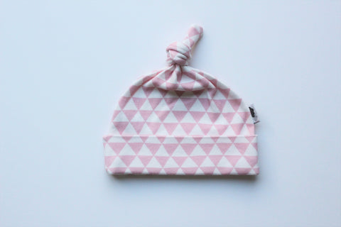 Organic Topknot Baby Beanie - Pink Triangles