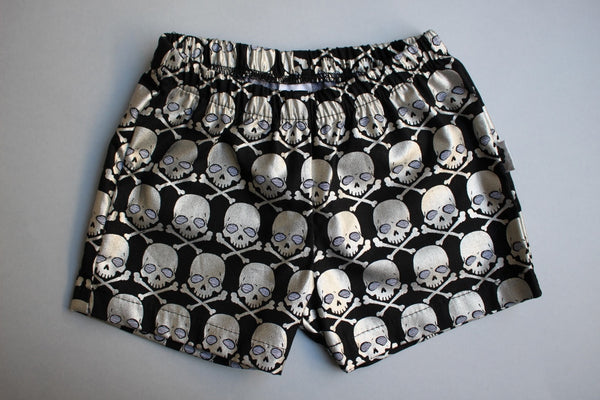 Shorties - Shimmer Skulls (Silver) - Little Dreamer Australia