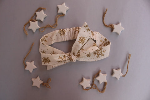 Christmas Headband - Golden Snowflakes