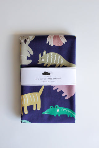 Fitted Cot Sheet - Wildlife (Aubergine)