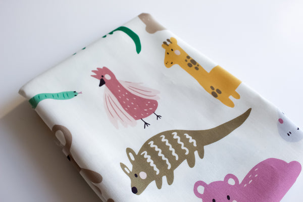 Fitted Cot Sheet - Wildlife (Cream)