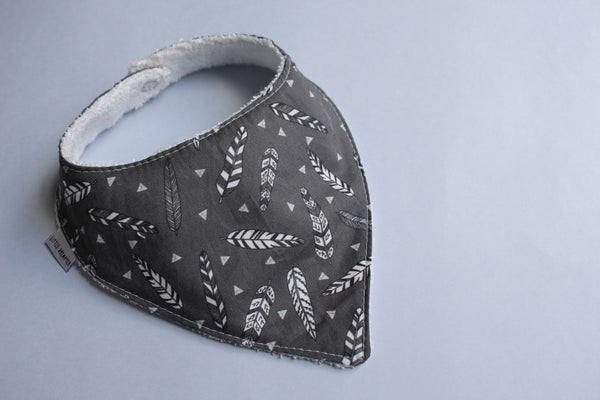 Bandana Bib - Tribal Feather (Black)