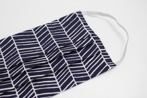 Adult Face Mask - Navy Herringbone