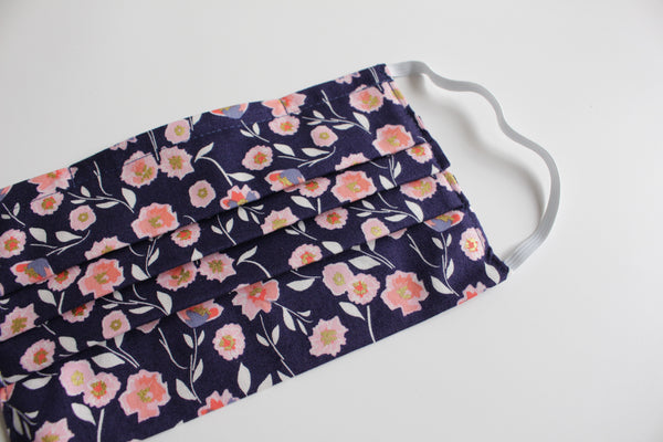 Adult Face Mask - Posy (Navy)