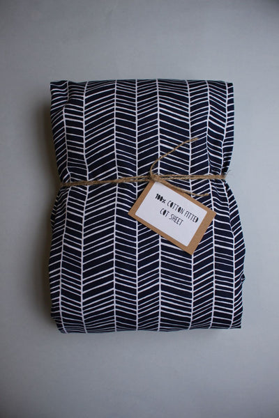 Fitted Cot Sheet - Navy Herringbone - Little Dreamer Australia