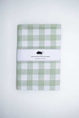 Fitted Cot Sheet - Green check
