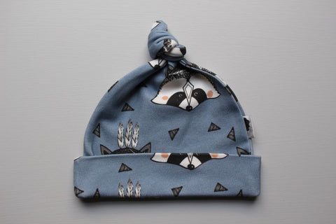 Organic Topknot Baby Beanie - Blue Raccoon - Little Dreamer Australia