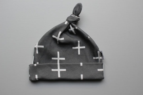 Organic Topknot Baby Beanie - Swiss Cross (Charcoal) - Little Dreamer Australia