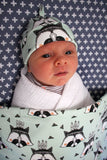 Organic Baby Swaddle Blanket - Mint Raccoon
