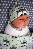 Organic Topknot Baby Beanie - Mint Raccoon - Little Dreamer Australia