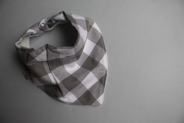 Bandana Bib - Gingham (Grey) - Little Dreamer Australia