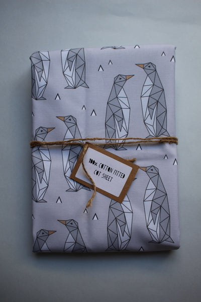 Fitted Cot Sheet - Geo Penguins (Grey) - Little Dreamer Australia