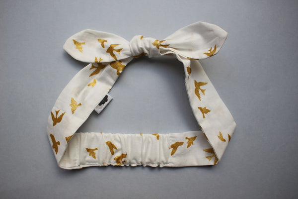 Self-tie Headband - Gold Birds - Little Dreamer Australia