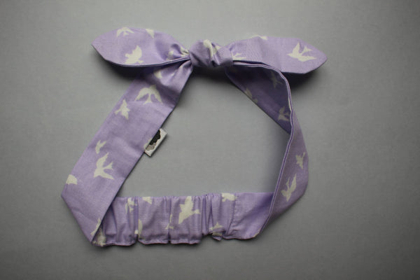 Self-tie Headband - Lilac Birds - Little Dreamer Australia