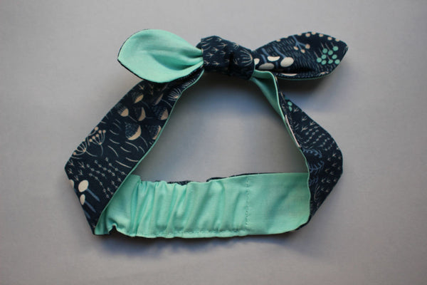 Self-tie Headband - Midnight Flora / Turqouise (Reversible) - Little Dreamer Australia