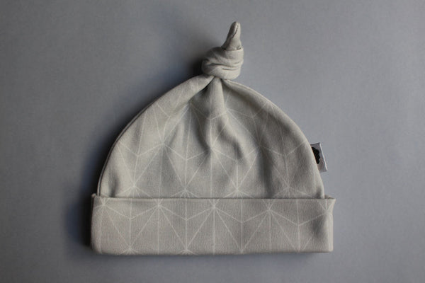 Organic Topknot Baby Beanie - Grey Geometric - Little Dreamer Australia