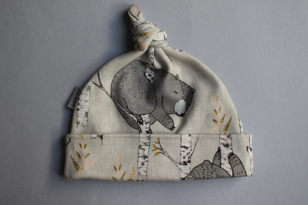 Organic Topknot Baby Beanie - Birch Bears - Little Dreamer Australia