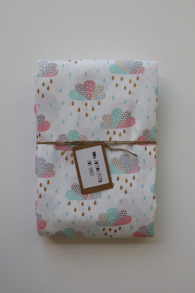 Fitted Cot Sheet - Little April Shower