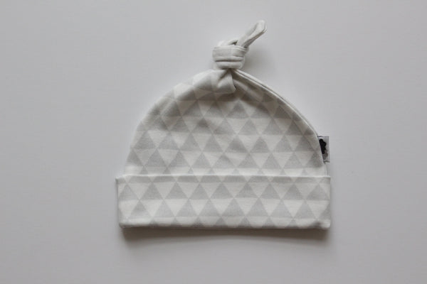 Organic Topknot Baby Beanie - Grey Triangles