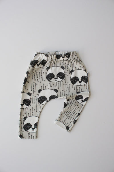 Organic Harem Leggings - Sleepy Panda (Grey)