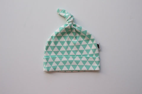 Organic Topknot Baby Beanie - Dark Mint Triangles