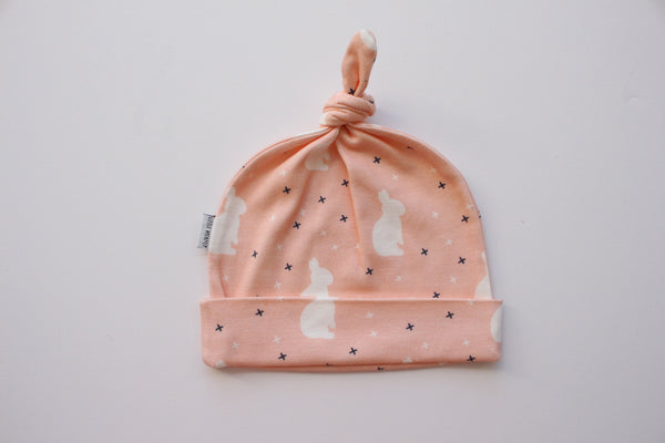 Organic Topknot Baby Beanie - Pink Bunny