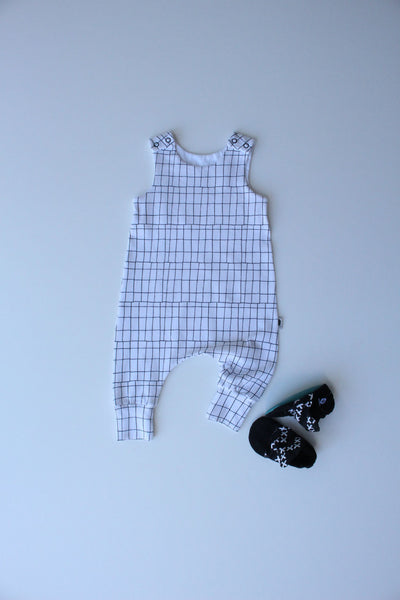 Gridlocked (Snow) - Stretchy Harem Romper