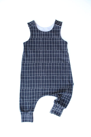 Gridlocked (Black) - Stretchy Harem Romper