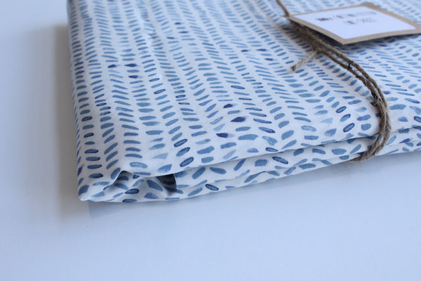 Fitted Cot Sheet - Ocean Herringbone
