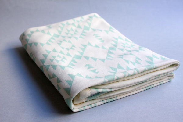 Organic Baby Swaddle Blanket - Navajo Mint - Little Dreamer Australia