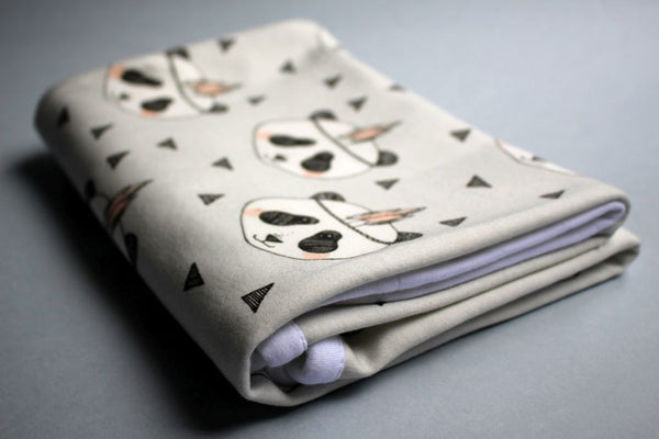 Organic Baby Swaddle Blanket - Panda Blush - Little Dreamer Australia
