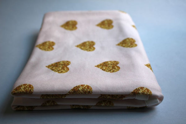Organic Baby Swaddle Blanket - Pink and Gold Glitter Hearts - Little Dreamer Australia