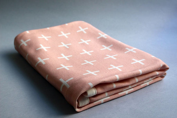 Organic Baby Swaddle Blanket - Swiss Cross (Blush) - Little Dreamer Australia