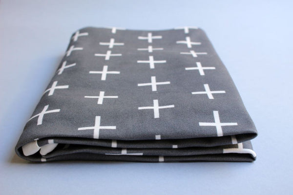 Organic Baby Swaddle Blanket - Swiss Cross (Charcoal) - Little Dreamer Australia
