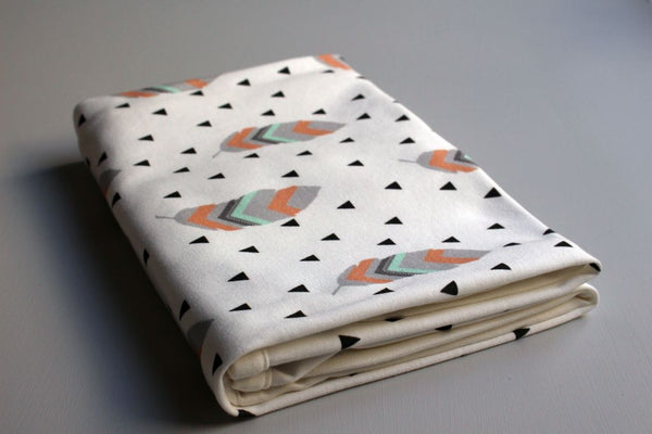 Organic Baby Swaddle Blanket - Tribal Feather (Coral + Mint) - Little Dreamer Australia