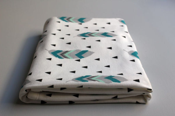 Organic Baby Swaddle Blanket - Tribal Feather (Teal + Mint) - Little Dreamer Australia