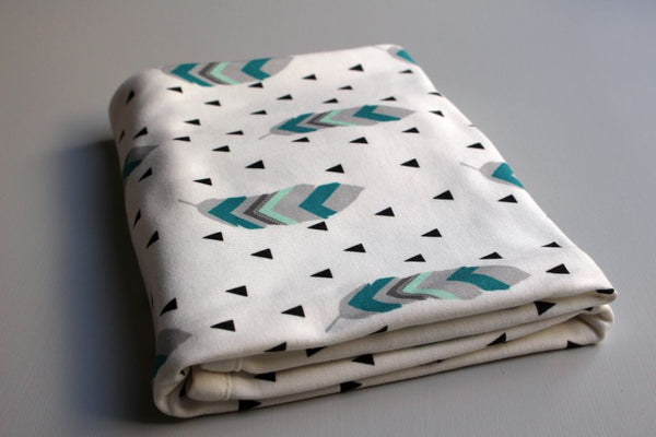 Organic Baby Swaddle Blanket - Tribal Feather (Teal + Mint)