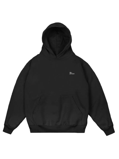 Prior Embroidery Logo Heavyweight Hoodie Black - PRIOR