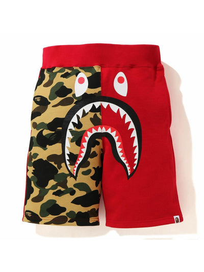 A Bathing Ape Color Camo Shark Sweat Shorts Red/Camo - Prior