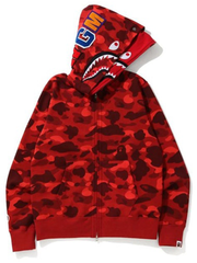 A Bathing Ape SHARK WHITE FULL ZIP DOUBLE HOOD HOODIE
