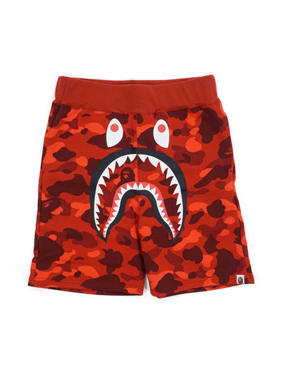 A Bathing Ape Color Camo Shark Sweat Shorts Red - PRIOR