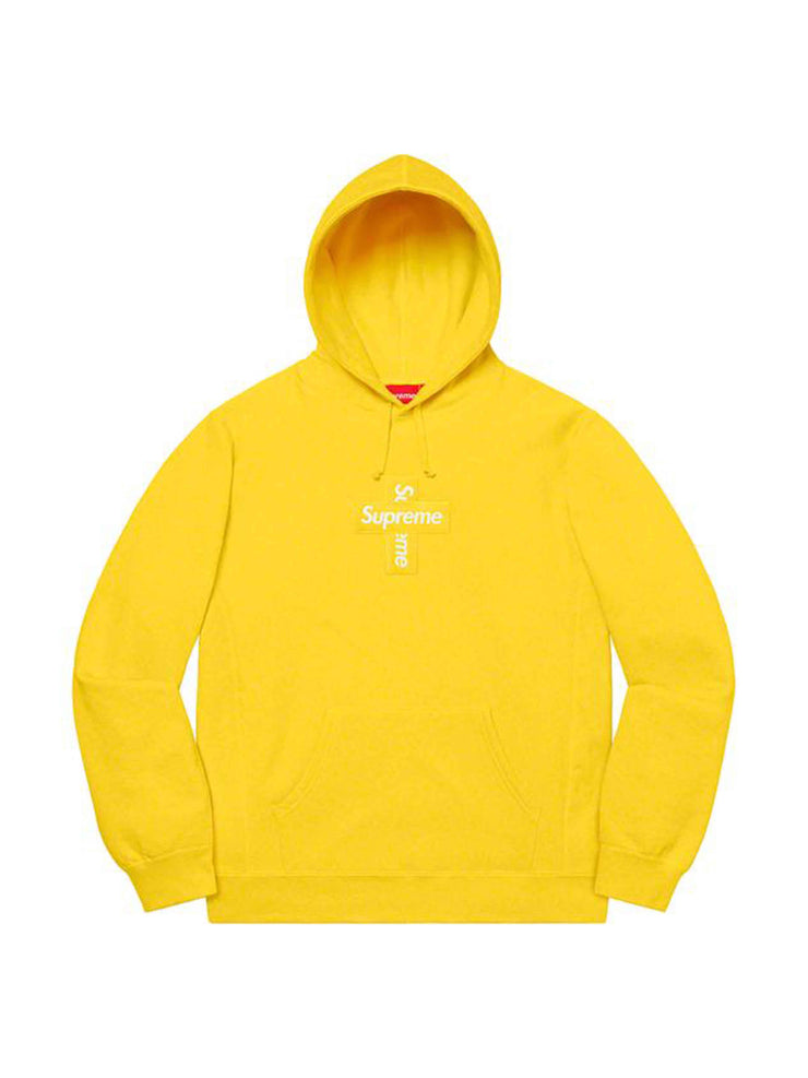 Supreme Cross Box Logo Hooded Sweatshirt Lemon [FW20] - PRIOR