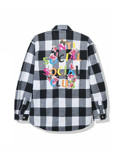 Anti Social Social Club Rainbow Kkoch Logo Flannel Shirt White - PRIOR