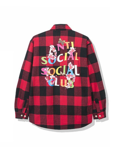 Anti Social Social Club Rainbow Kkoch Logo Flannel Shirt Red - PRIOR