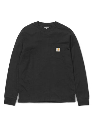 Carhartt Pocket Long Sleeve Tee Black - VINTAGE VINTAGE