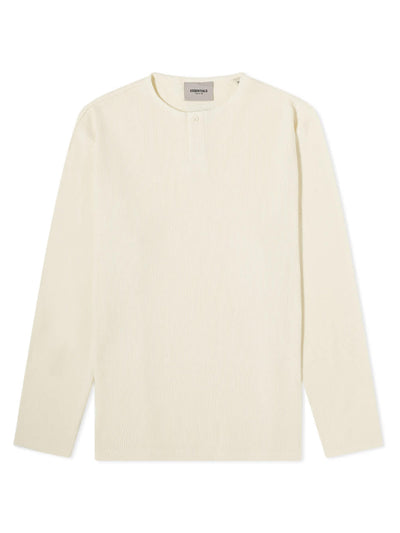 FOG ESSENTIALS Thermal Longsleeve Henley T-Shirt Cream - PRIOR