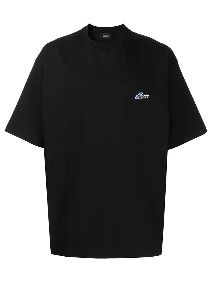 We11done Black Oversized Logo-Patch Tee - Prior