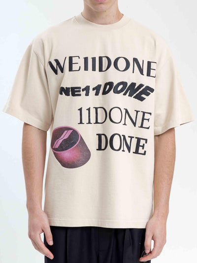 We11done Ivory Washed Logo Tee - Prior