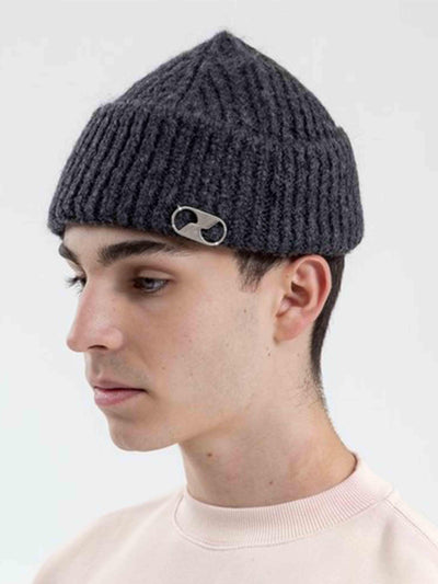 We11done Grey Embroidered Logo Metal Long Beanie - Prior